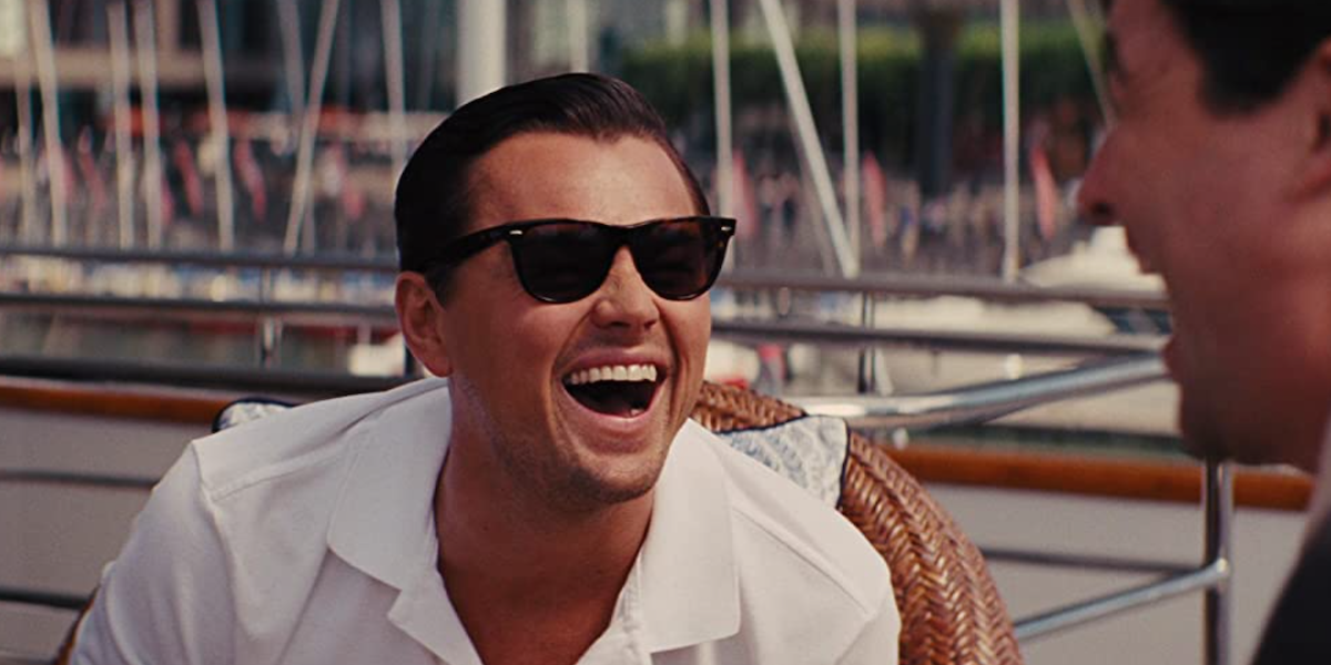 Leonardo DiCaprio laughing in The Wolf of Wall Street