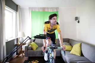 Tom Dumoulin (Jumbo-Visma) rides during the virtual tour of the Amstel Gold Race at a holiday home in Valkenburg on April 19, 2020