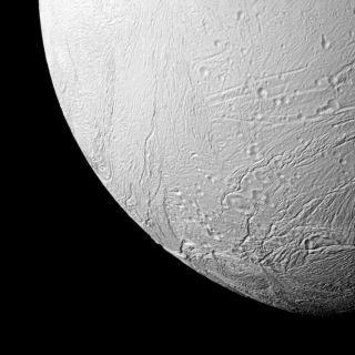 The Cassini spacecraft's close view of the southern terrain of Saturn's moon Enceladus, which contains a massive global ocean under its surface, scientists recently confirmed.