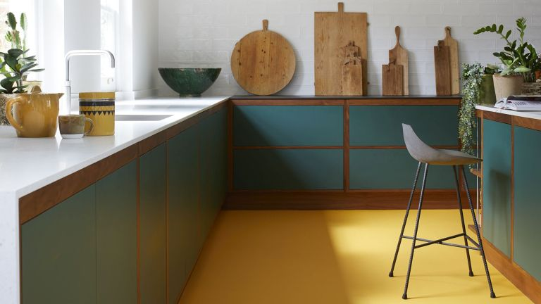 Resin flooring: Yellow floor in a green kitchen