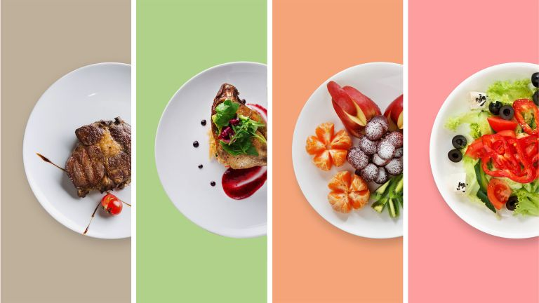 Four different plates of food pictured from above on a multicolored background