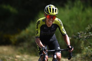 ESPINOSA DE LOS MONTEROS SPAIN JULY 30 Esteban Chaves of Colombia and Team MitcheltonScott Picn Blanco 1486m Breakaway during the 42nd Vuelta a Burgos 2020 Stage 3 a 150km stage from Sargentes de la Lora to Espinosa de los Monteros Picn Blanco 1486m VueltaBurgos on July 30 2020 in Espinosa de Los Monteros Spain Photo by David RamosGetty Images