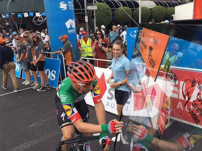 Elia Viviani signs in for the start of stage 1 at the Tour Down Under