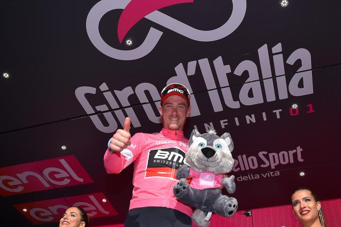 Rohan Dennis on the Giro podium after stage 4