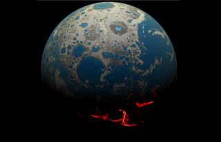 An artist's conception of the early Earth, showing a surface bombarded by large impacts that result in the extrusion of magma onto the surface.
