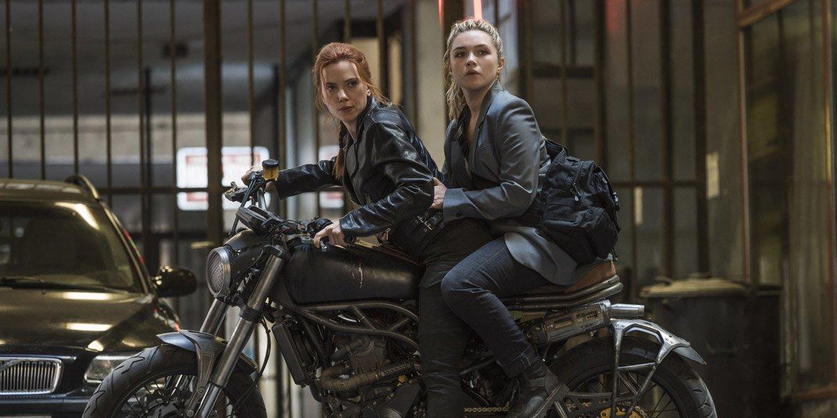 Black Widow Scarlett Johansson and Florence Pugh on motorcycle