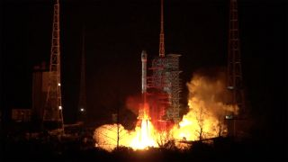 A Chinese Long March 3B rocket failed to launch the Indonesian Nusantara Dua communications satellite successfully on April 8, 2020. Shown here, a similar rocket lifts off from the Xichang Satellite Launch Center on March 9.
