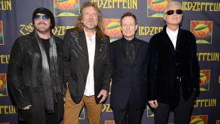 Jason Bonham, Robert Plant, John Paul Jones and Jimmy Page at the Celebration Day New York premiere