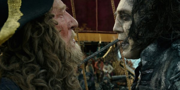 Barbossa faces off against the ghostly Captain Salazar (Javier Bardem)