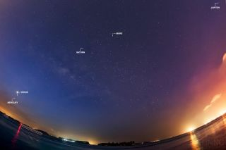 Milky Way and Five Planets from Singapore