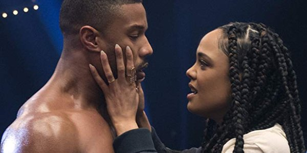 Creed II Adonis and Bianca have a conversation in the ring