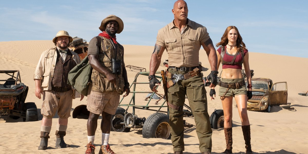 Jumanji: The Next Level cast standing confused in the desert