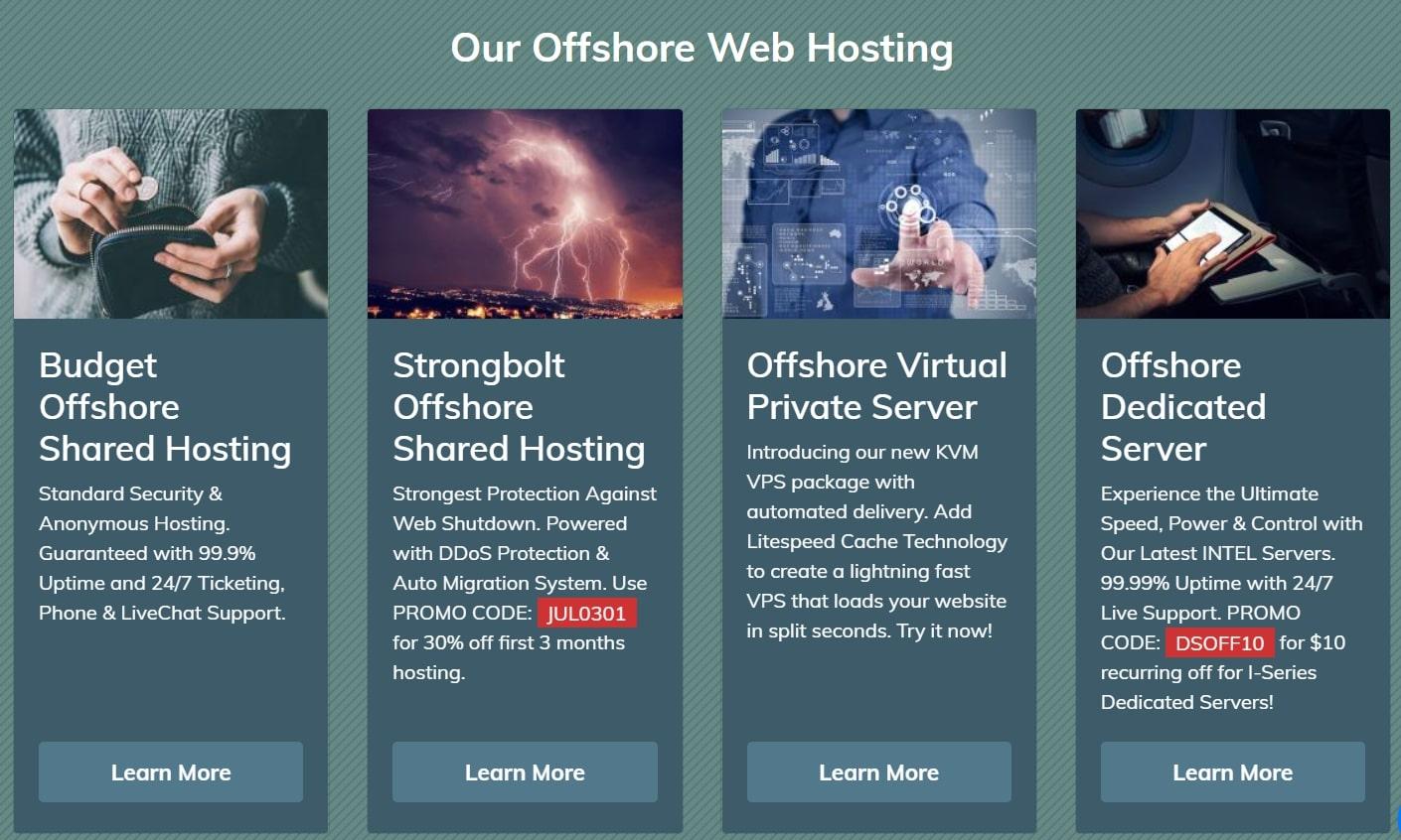 Shinjiru's options for offshore web hosting