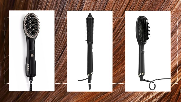 best hair straightener brush, our selection of best hair straightener brushes on a sleek red hair background
