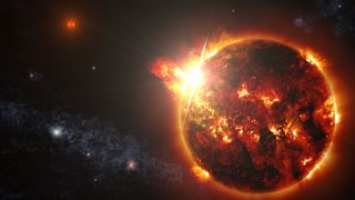 Artists concept showing DG CVn  a binary system consisting of two red dwarf stars  unleashing a series of powerful flares seen by NASAs Swift spacecraft on April 23 2014
