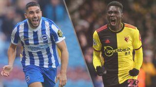 Brighton & Hove Albion vs Watford live stream — Neal Maupay of Brighton & Hove Albion and Ismaila Sarr of Watford