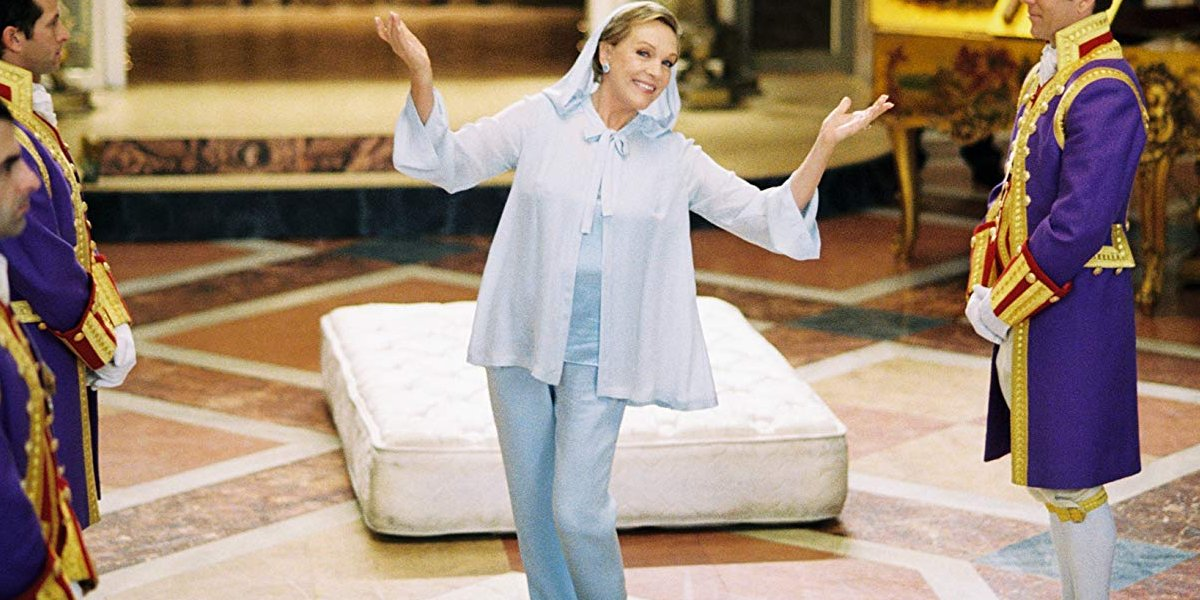 The Princess Diaries 2: A Royal Engagement Julie Andrews poses like royalty in front of her sliding