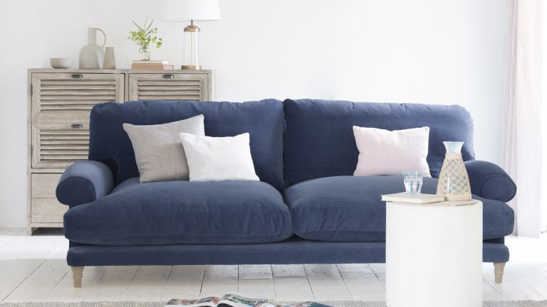 Slowcoach sofa from Loaf in Liquorice Blue clever velvet