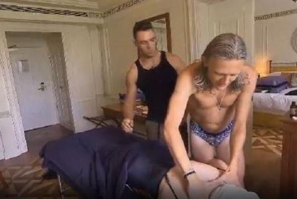 Jimmy Bullard gives Edwina Currie a massage