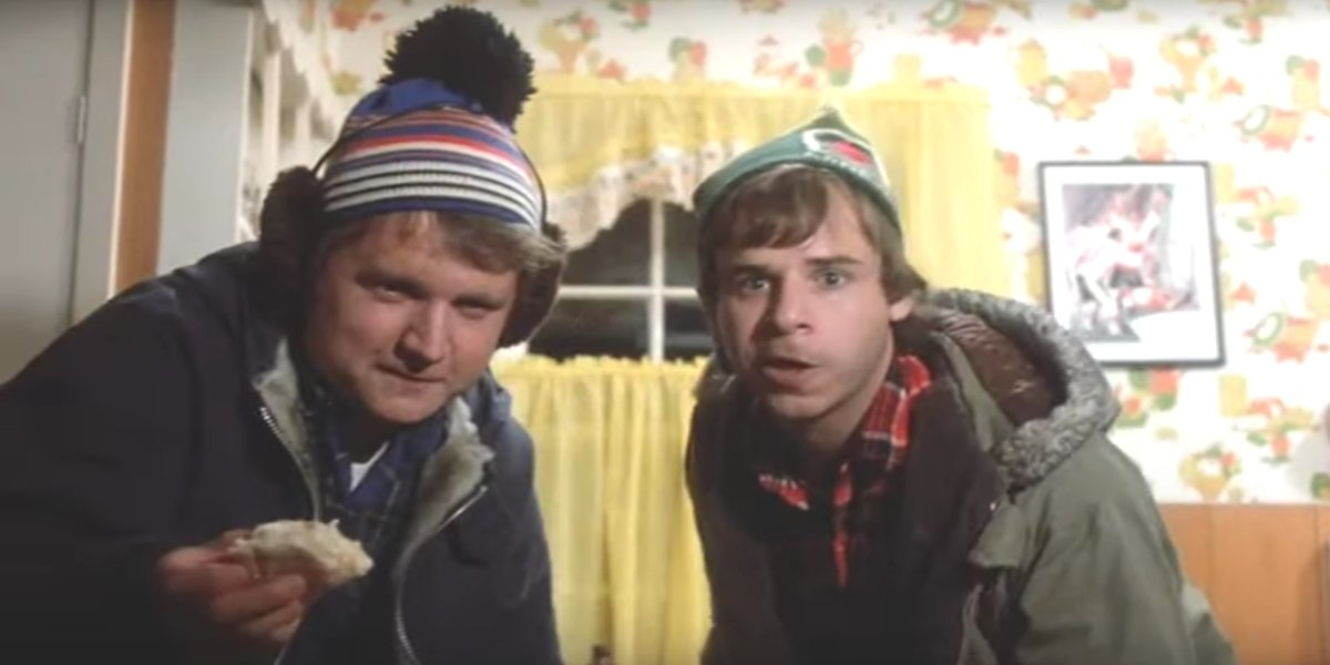 Dave Thomas and Rick Moranis trying to get that last beer