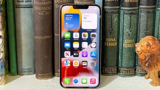 iphone 13 pro display on leaning against books