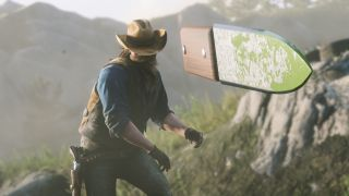 Skjermbilde fra «Red Dead Redemption 2» som viser en mann som kaster en kniv