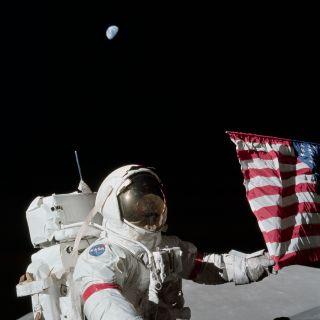 Eugene Cernan and US flag on the moon