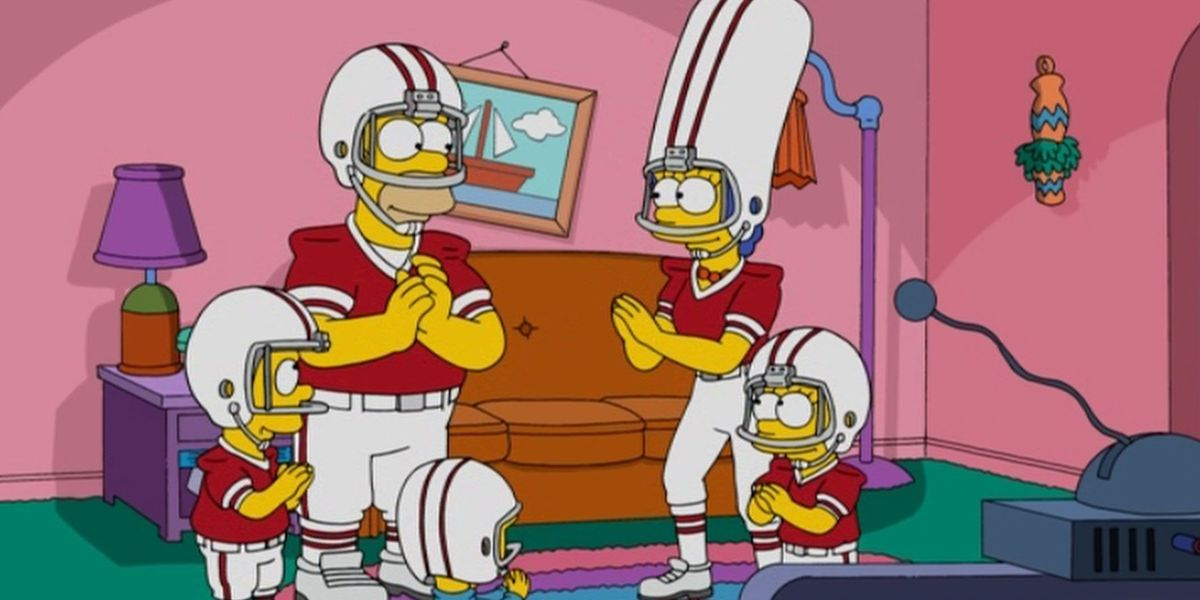 the simpsons in football uniforms