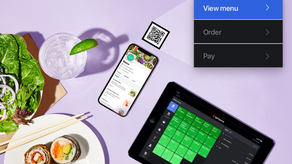 Lightspeed POS shown as flat lay with sushi