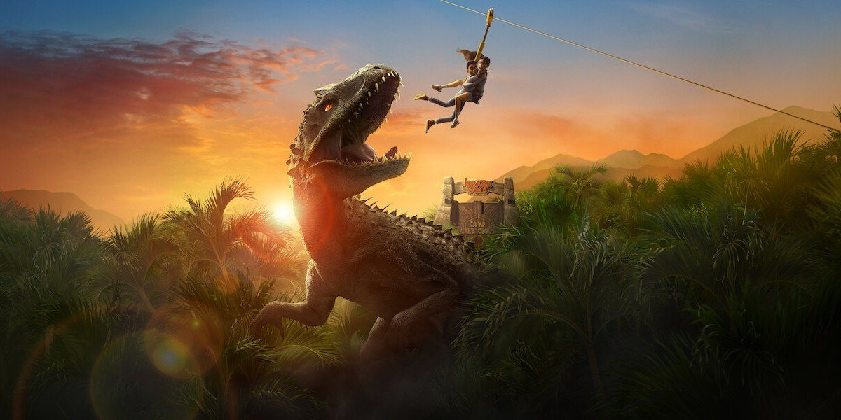 Jurassic World: Camp Cretaceous the Indominous Rex looks at kids on a zipline like a snack