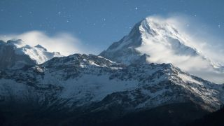 Snow clouds blowing across Everest