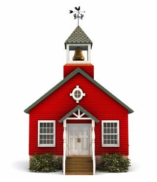 Old fashioned one room schoolhouse with steeple and bell