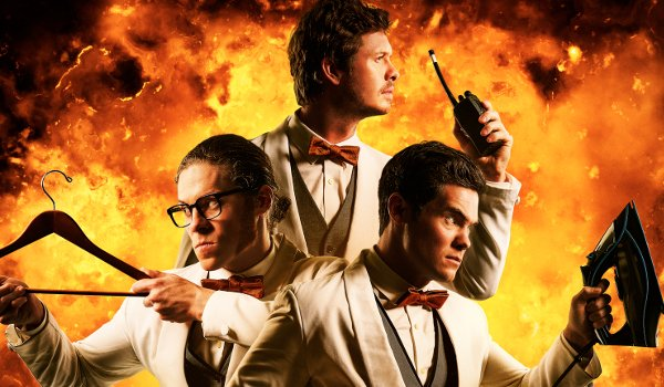 Game Over Man Jere Burns Anders Holm Adam Devine ready for action in the flames