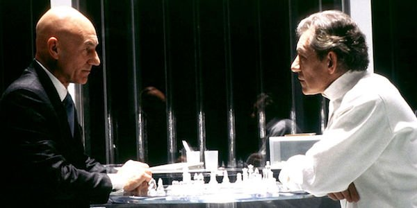 Professor X and Magneto playing chess in first X-Men movie