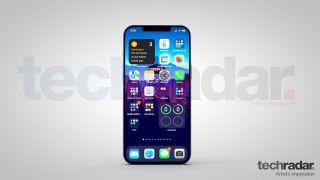 Reproducción artística de un iPhone 13 con iOS 15