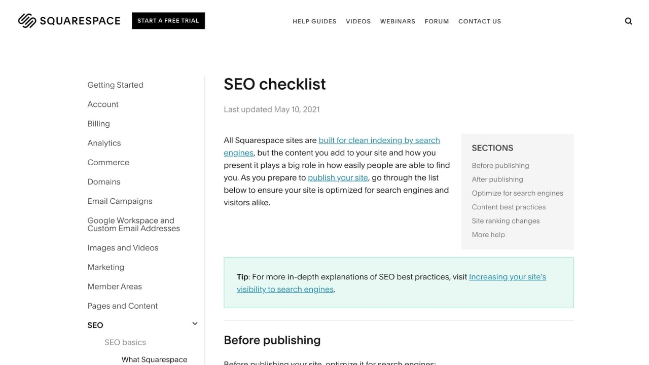 build a website with Squarespace - Squarespace's SEO checklist