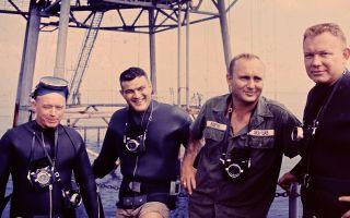 Sealab aquanauts Sanders Manning, Lester Anderson, Bob Barth and Robert Thompson