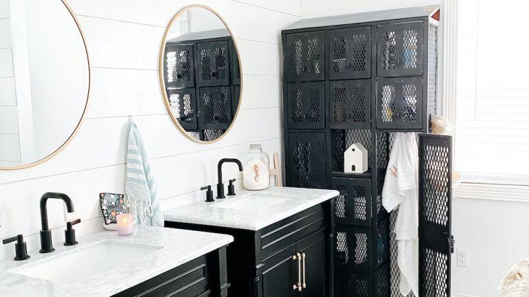 Bathroom Renovation after photo - shiplap walls, black vanities