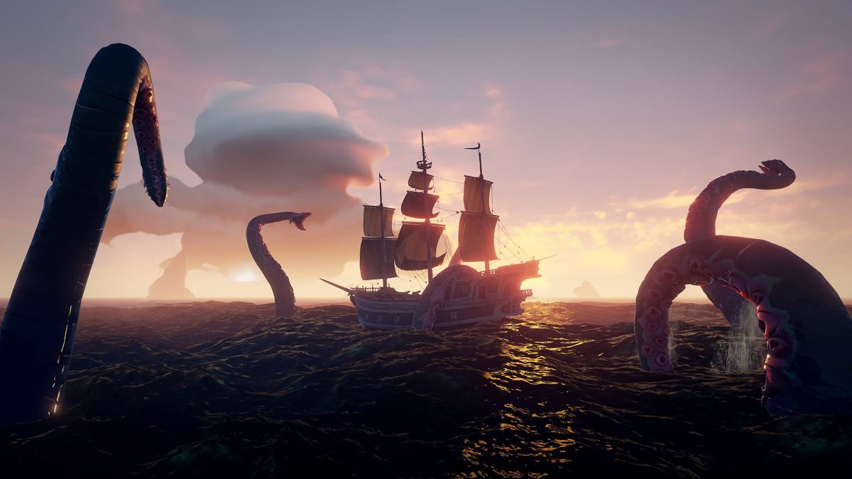 Watch a Sea of Thieves pirate crew battle the Kraken