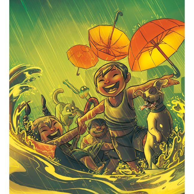 Adegan karakter bahagia menikmati hujan