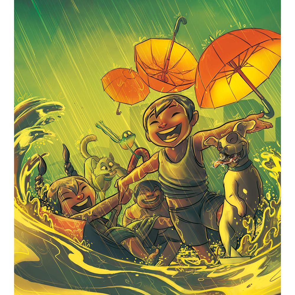 Scene of happy characters enjoying the rain