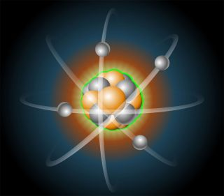 illustration of an atom with protons, neutrons and electrons