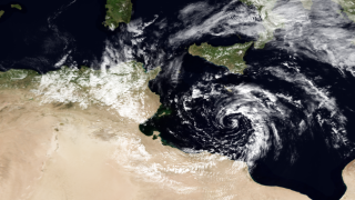 A cyclonic storm was seen in the Mediterranean on Feb. 23, 2012.