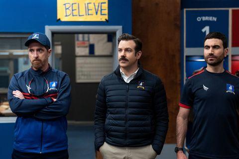 Brendan Hunt, Ted Lasso, and Brett Goldstein in 'Ted Lasso.'