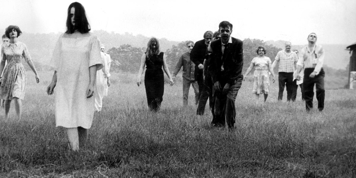 A horde of zombies in Night of the Living Dead