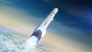 An artist's illustration of Blue Origin's New Glenn rocket in flight.