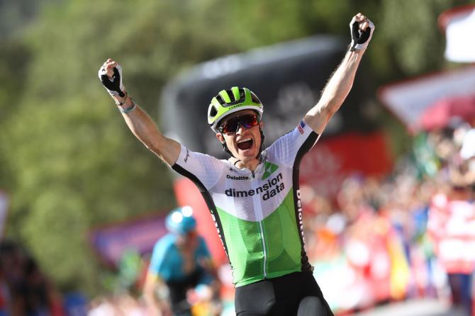 Ben King is jubilant as he crosses the line