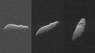 These three radar images of hippo-shaped near-Earth asteroid 2003 SD220 were captured between Dec. 15-17, 2018 using NASA's Goldstone antenna, the Arecibo Observatory in Puerto Rico and the Green Bank Telescope in West Virginia.