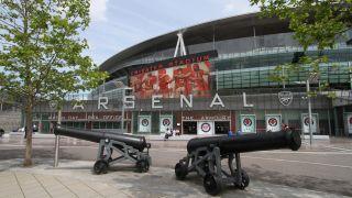 Canons outside the Arsenal Emirates Stadium