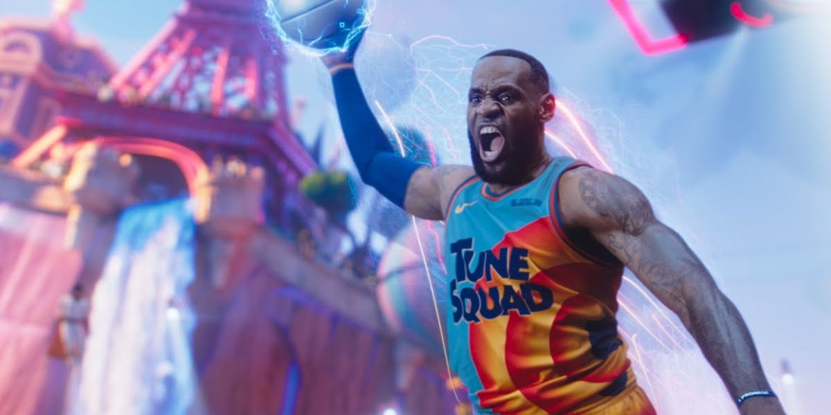 Lebron James in mid dunk in Space Jam A New Legacy.